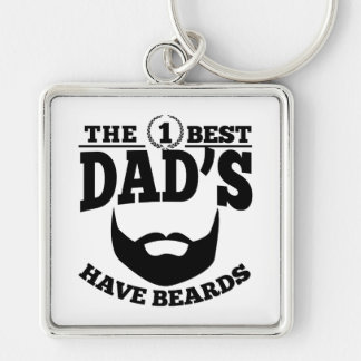The Best Dad's Have Beards Silver-Colored Square Keychain