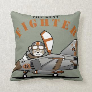 The Best Fighter Pilot Bear Throw Pillow