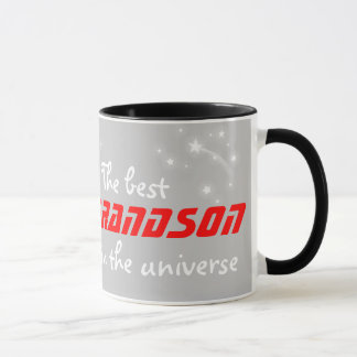 """The best grandson in the universe"" red grey mug"