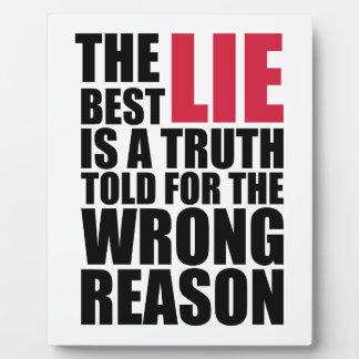 The Best Lie Plaque