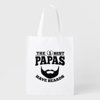 The Best Papas Have Beards Reusable Grocery Bag