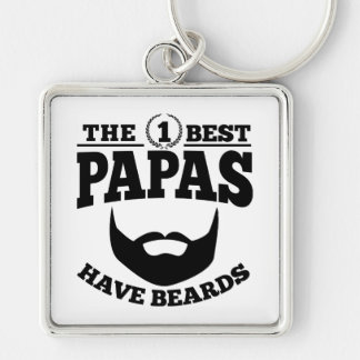 The Best Papas Have Beards Silver-Colored Square Keychain
