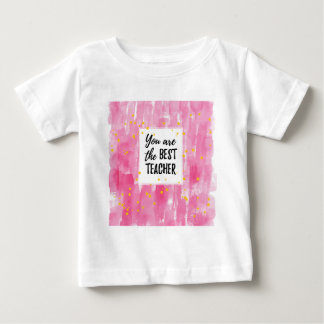 The Best Teacher - Pink Yellow Star Watercolor Baby T-Shirt