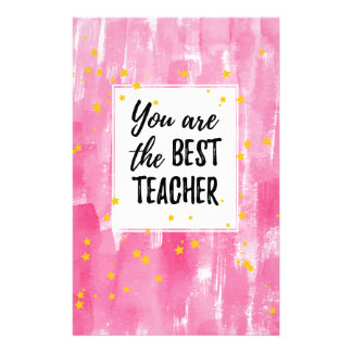 The Best Teacher - Pink Yellow Star Watercolor Customized Stationery