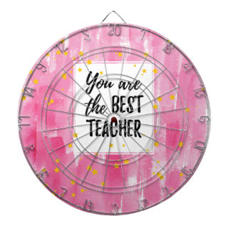 The Best Teacher - Pink Yellow Star Watercolor Dartboard