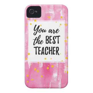 The Best Teacher - Pink Yellow Star Watercolor iPhone 4 Covers
