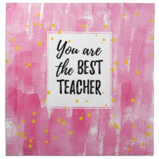 The Best Teacher - Pink Yellow Star Watercolor Napkin