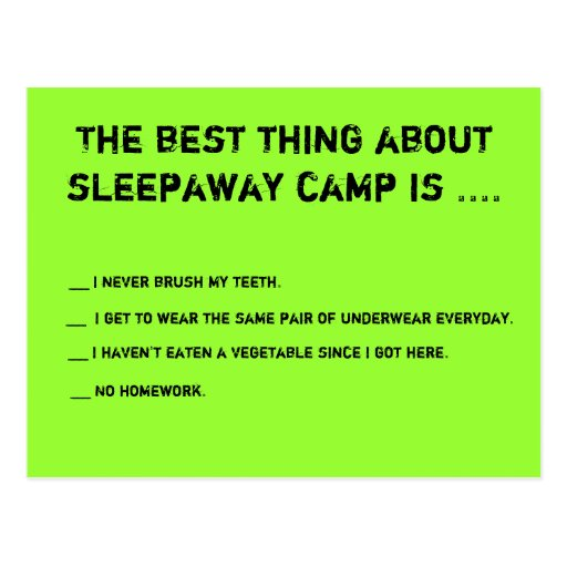 The Best Thing About Sleepaway Camp Is ... Postcards