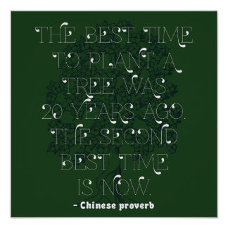 The best time to plant a tree... - Chinese Proverb Poster
