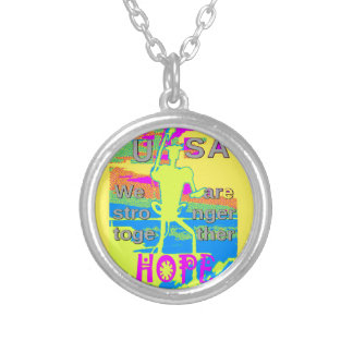 The Best USA Hope  Hillary Stronger Together Silver Plated Necklace