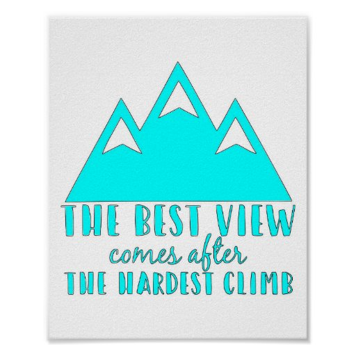 The Best View Comes After, the Hardest Climb Quote Poster
