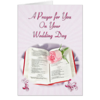 The Bible and rose prayer for a wedding day Greeting Card