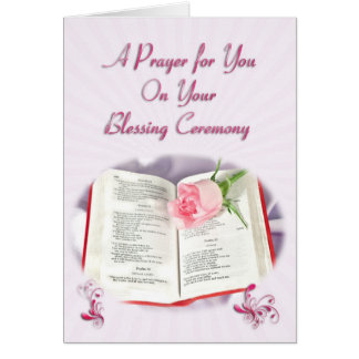 The Bible and rose prayer for blessing ceremony Card