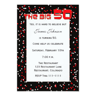 """The BIG 50"" 50th Birthday Invitation on Black"