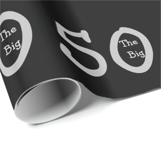 The big 50, Birthday, silver text on black. Wrapping Paper