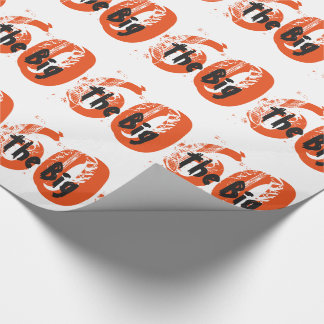 The big 60, Birthday, black, orange text on white. Wrapping Paper