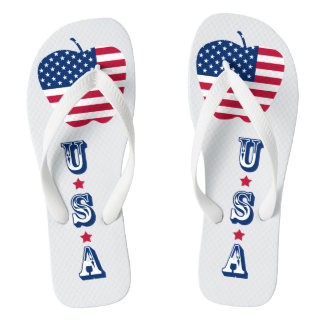 The Big Apple America flag NYC Flip Flops