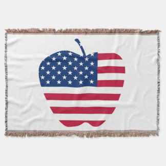 The Big Apple America flag NYC Throw Blanket