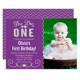 The Big One Chevron Purple Photo 1st Birthday Card