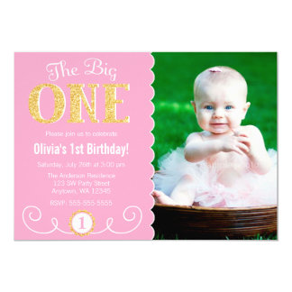 "The Big One Pink Gold 1st Birthday Photo 5"" X 7"" Invitation Card"