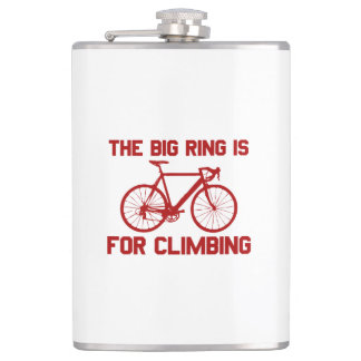 The Big Ring Is For Climbing Hip Flask