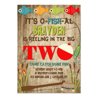 The Big Two Fishing Theme Boys First Birthday Card