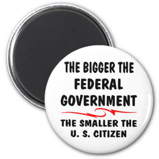 The Bigger Fed Gov The Smaller The US Citizen 2 Inch Round Magnet