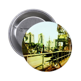 The bike, the crane and the museum 2 inch round button