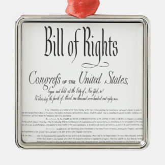 The Bill of Rights Silver-Colored Square Ornament
