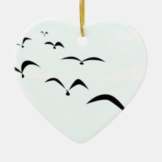The Birds Ceramic Heart Ornament