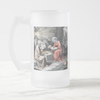 The birth of Christ Frosted Glass Beer Mug