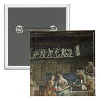 The Birth of the Virgin, 1485-90 2 Inch Square Button