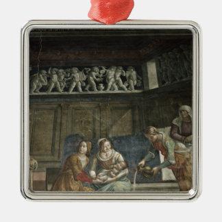 The Birth of the Virgin, 1485-90 Silver-Colored Square Ornament
