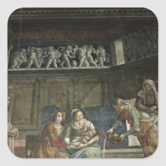 The Birth of the Virgin, 1485-90 Square Sticker