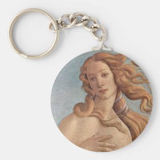 The Birth of Venus by Botticelli, Renaissance Art Basic Round Button Keychain