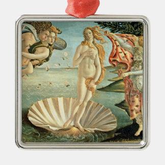 The Birth of Venus, c.1485 (tempera on canvas) Silver-Colored Square Ornament