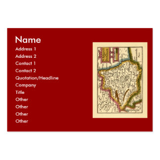 The Bishopprick of Durham County Map, England Large Business Card