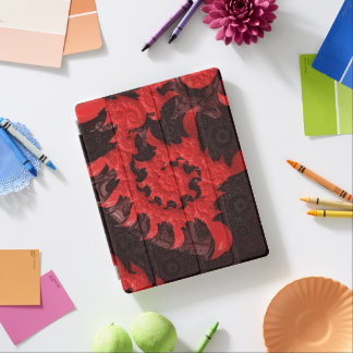 The Black and Red Spiral Kiss of a Scorpion iPad Cover