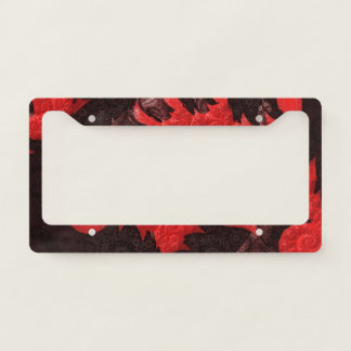 The Black and Red Spiral Kiss of a Scorpion License Plate Frame