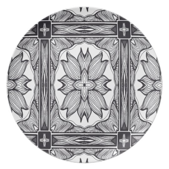 The Black and White Secret Doodle Art Plate