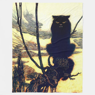 The Black Cat Fleece Blanket