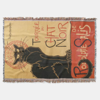 """The Black Cat"" Le Chat Noir Cabaret Throw Blanket"