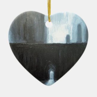 The Black Gate ( abstract cityscape painting) Ceramic Heart Ornament