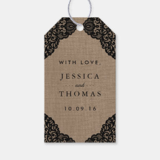 The Black Lace On Rustic Burlap Wedding Collection Gift Tags