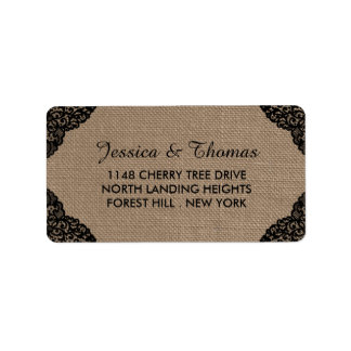 The Black Lace On Rustic Burlap Wedding Collection Label