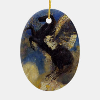 The Black Pegasus Double-Sided Oval Ceramic Christmas Ornament