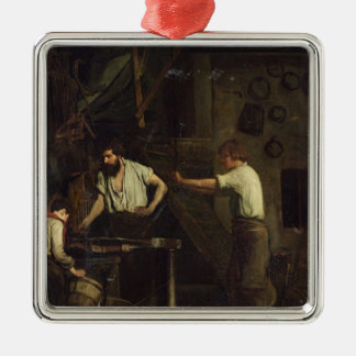 The Blacksmiths, Memory of Treport, 1857 Silver-Colored Square Ornament