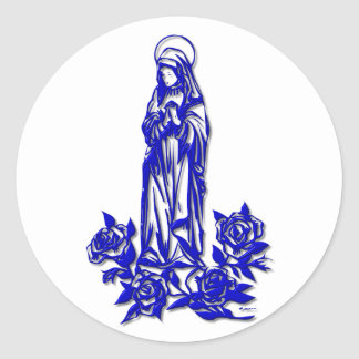 The Blessed Virgin Mary ( with blue roses ) Classic Round Sticker