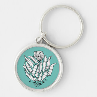 The Bloom of Okra Silver-Colored Round Keychain