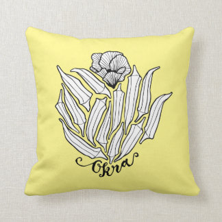 The Bloom of Okra Throw Pillow